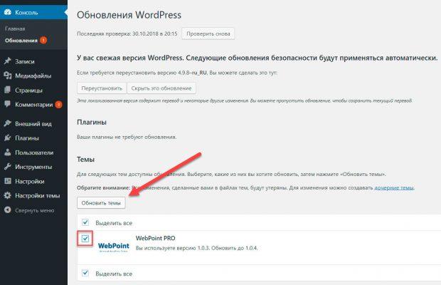 Обновление темы WebPoint PRO