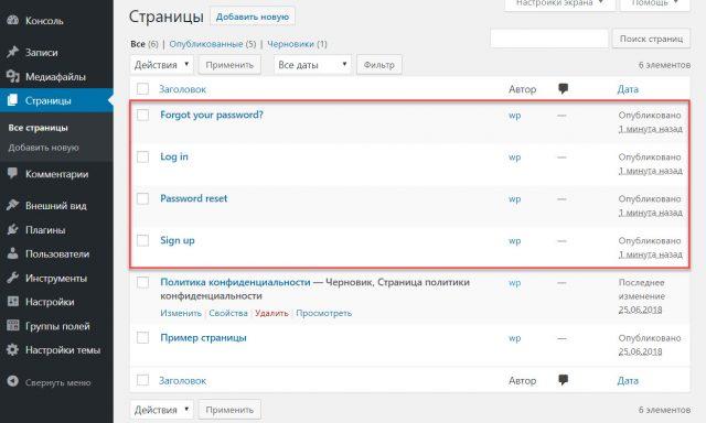 WebPoint Login - служебные страницы