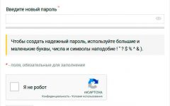 WebPoint Login - форма установки нового пароля